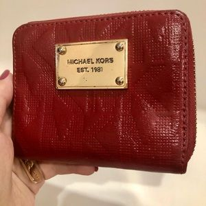 MK wallet patent leather